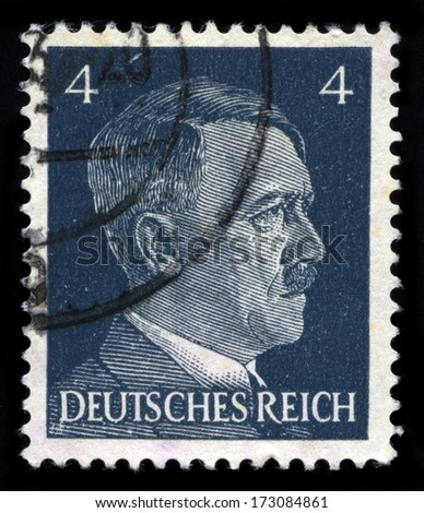 GERMANY - CIRCA 1941: A vintage German Reich Postage Stamp portraying an image Adolf Hitler, circa 1941. - stock photo
