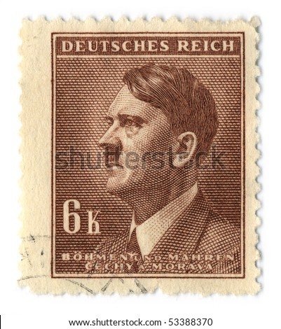 GERMANY - CIRCA 1937: An GERMANY Used Postage Stamp showing Portrait of Adolf Hitler, circa 1937.