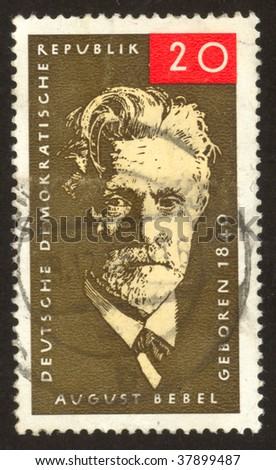 GERMANY -CIRCA 1979: August Ferdinand Bebel was a German social democrat and one of the founders of the Social Democratic Party of Germany, circa 1964.
