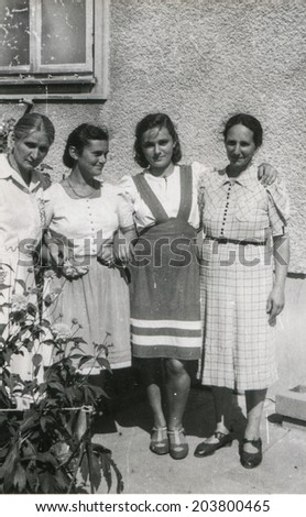 GERMANY, CIRCA FORTIES - Vintage photo of four young women outdoor