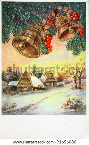 GERMANY - CIRCA 1945: Greeting Christmas postcard printed in the Germany shows winter landscape, circa 1945 - stock photo