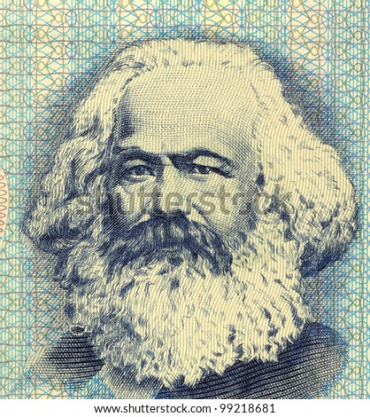 GERMANY - CIRCA 1975: Karl Marx (1818-1883) on 100 Mark 1975 Banknote from East Germany. German philosopher, political economist & theorist, historian, sociologist, and communist revolutionary. - stock photo