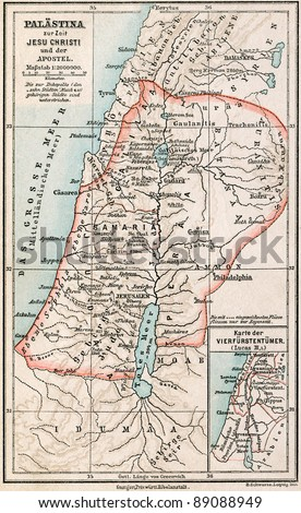 "GERMANY - CIRCA 1895: Map of Palestine the time of Jesus Christ and the Apostles. Atlas B. Schwarze, Leipzig, Printing House ""Privilegierte Wurttembergische Bibelanstalt"", Germany, 1895"