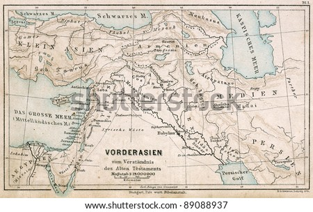 "GERMANY - CIRCA 1895: Map of the Middle East. Biblical places. Atlas B. Schwarze, Leipzig, Printing House ""Privilegierte Wurttembergische Bibelanstalt"", Germany, 1895"