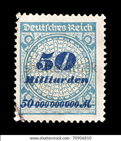 GERMANY - CIRCA 1923: old German postage stamp shows the inflation during the Deutsches Reich, value 50 billions marks, Germany, circa 1923.
