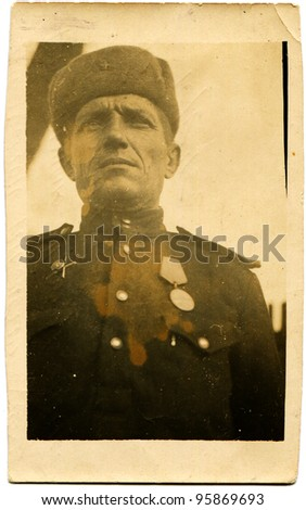GERMANY - CIRCA 1945: Portrait of a Soviet Army officer who was awarded the Order of the Red Star and medals, Germany, circa 1945 - stock photo