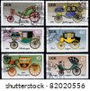 GERMANY- CIRCA 1985: Post stamps printed in Germany shows carriage, devoted the history of horse transport , series, circa 1985 - stock photo