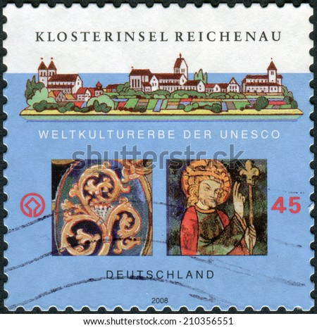GERMANY - CIRCA 2008: Postage stamp printed in Germany, dedicated to the Monastic Island of Reichenau (World Heritage 2000), circa 2008  - stock photo