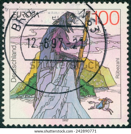 GERMANY - CIRCA 1997: Postage stamp printed in Germany, dedicated to the sagas and legends, depicted Rubezahl of Riesengebirge (Giant Mountains), circa 1997 - stock photo