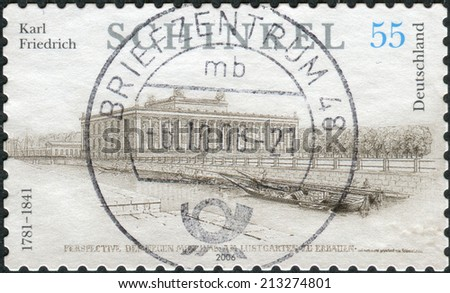 GERMANY - CIRCA 2006: Postage stamp printed in Germany, dedicated to the 225th anniversary of the birth of Karl Friedrich Schinkel, depicts The Altes Museum (Old Museum) in Berlin, circa 2006 - stock photo