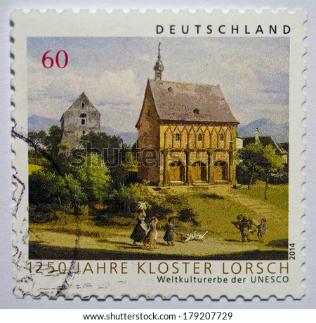 Germany  CIRCA 2014: Postage stamp printed in Germany showing the Torhalle of the Abbey of Lorsch, circa 2014. Isolated on white.