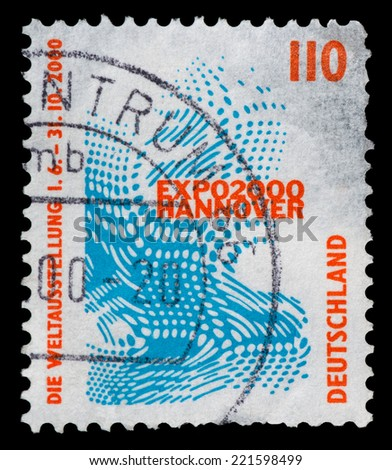 GERMANY - CIRCA 1998: Postage stamp printed in Germany, shows Emblem of the World Exhibition EXPO 2000, Hannover, circa 1998 - stock photo