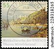 GERMANY - CIRCA 2006: Postage stamp printed in Germany, shows the Upper Middle Rhine Valley (UNESCO World Heritage Site), circa 2006 - stock photo