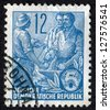 GERMANY- CIRCA 1953: Postage stamp printed in West Germany (FRG) shows Worker, peasant and intellectual. Scott Catalog 160 A43 12pf blue, circa 1953 - stock photo