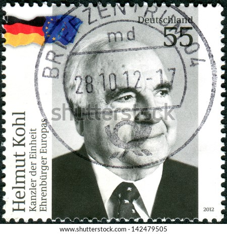 GERMANY - CIRCA 2012: Postage stamps printed in Germany, shows Helmut Kohl - Chancellor of the unity - Honorary Citizen of Europe, circa 2012