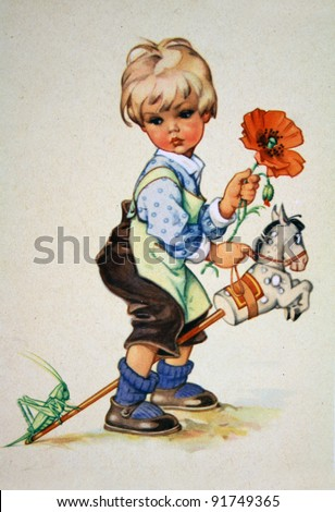 ... printed in GDR shows Boy on toy horse, circa 1952 - stock photo
