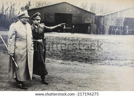 GERMANY - CIRCA 1940s: Hermann Wilhelm Goering Reich Reich Ministry of Aviation and German fighter units of Luftwaffe pilot of World War II ace pilot, Lieutenant General Adolf Josef Ferdinand Galland. - stock photo