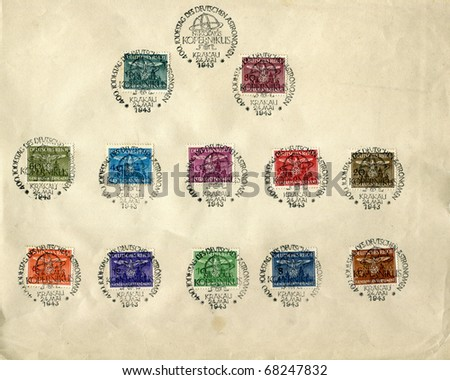 GERMANY - CIRCA 1943 - sheet of stamps from Nazi Germany (General Government), showing eagle holding swastika, canceled with special stamp for 400 anniversary of Copernicus death - circa 1943