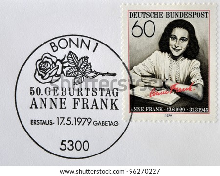 GERMANY- CIRCA 1979: stamp printed by Germany, shows Anne Frank, Nazi victim, circa 1979. - stock photo