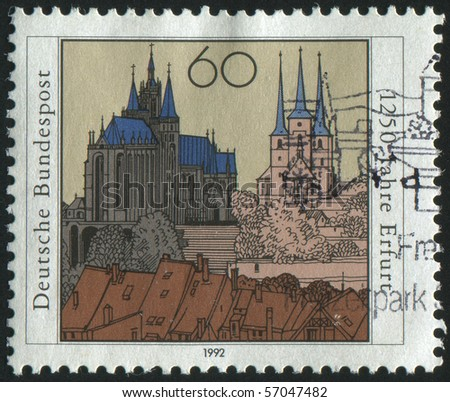 GERMANY - CIRCA 1992: stamp printed by Germany, shows Erfurt, capital of Thuringia, circa 1992.