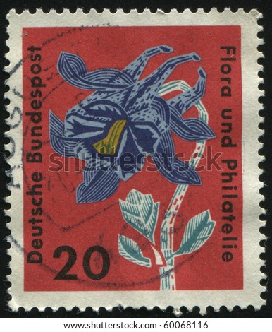 GERMANY- CIRCA 1963: stamp printed by Germany, shows flower Columbine, circa 1963.