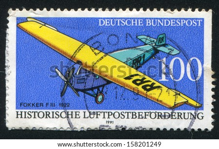 GERMANY - CIRCA 1991: stamp printed by Germany, shows Fokker FIII, circa 1991 - stock photo