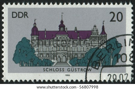 GERMANY- CIRCA 1986: stamp printed by Germany, shows Gustrow castle, circa 1986.