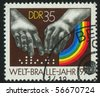 GERMANY - CIRCA 1975: stamp printed by Germany, shows Hands reading Braille, circa 1975. - stock photo