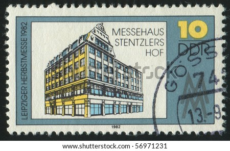 GERMANY- CIRCA 1982: stamp printed by Germany, shows Leipzig Autumn Fair, Exhibition Hall, circa 1982.