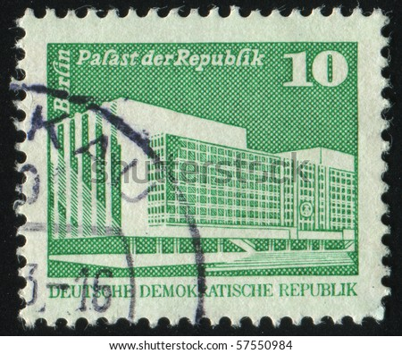 GERMANY- CIRCA 1980: stamp printed by Germany, shows Palast der Republik, Berlin, circa 1980.