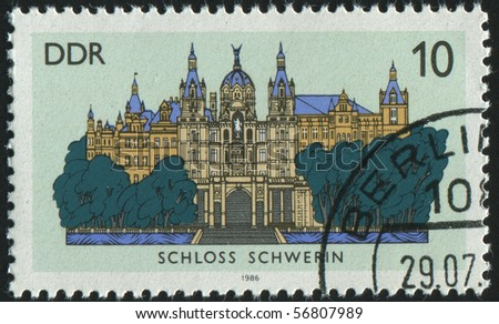 GERMANY- CIRCA 1986: stamp printed by Germany, shows Schwerin castle, circa 1986.