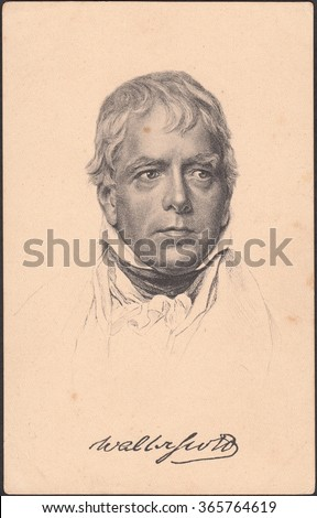GERMANY-CIRCA 1911: stamp printed by old postcard Germany,shows portrait Sir Walter Scott is a famous British writer,poet,historian,collector of antiquities,a lawyer of Scottish descent,circa 1911