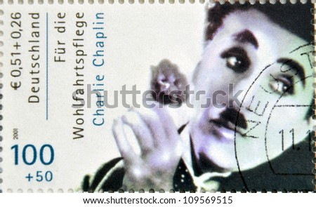GERMANY - CIRCA 2001 : stamp printed in Germany showing actor Charles Chaplin, circa 2005 - stock photo