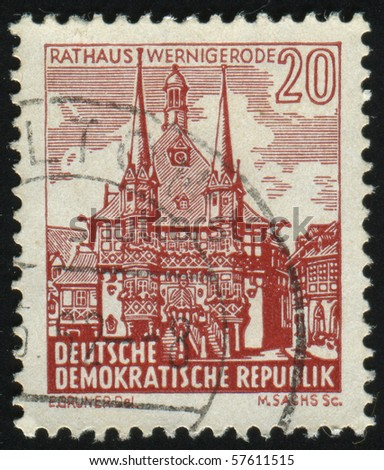 GERMANY- CIRCA 1961: stamp printed in Germany, shows City Hall,  Wernigerode, circa 1961.