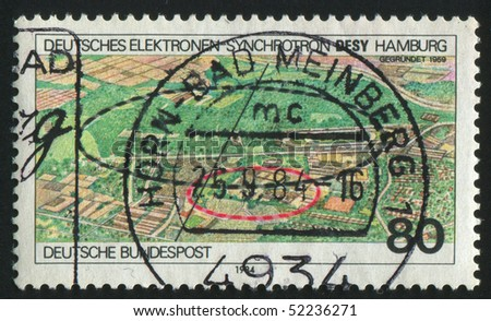 GERMANY  - CIRCA 1984: stamp printed in Germany, shows German Electron Synchrotron Research Center, Hamburg, circa 1984.