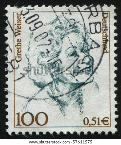 GERMANY- CIRCA 2000: stamp printed in Germany, shows Grethe Weiser, actress, circa 2000.