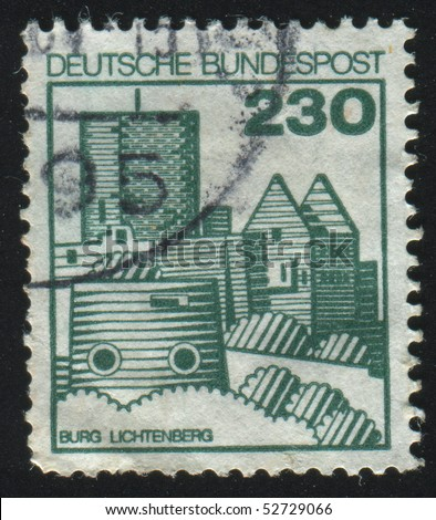 GERMANY  - CIRCA 1977: stamp printed in Germany, shows Lichtenberg castle, circa 1977.