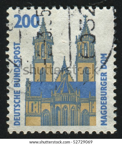 GERMANY  - CIRCA 1987: stamp printed in Germany, shows Magdeburg Cathedral, circa 1987.