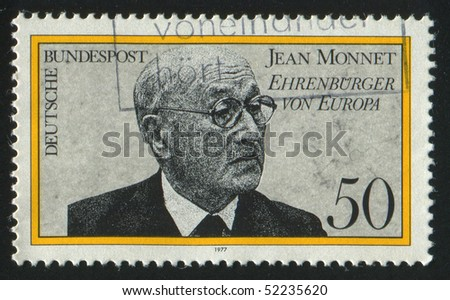 GERMANY  - CIRCA 1977: stamp printed in Germany, shows portrait Jean Monnet,  circa 1977.