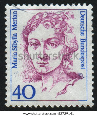 GERMANY  - CIRCA 1986: stamp printed in Germany, shows portrait Maria Sibylla Merian, circa 1986.
