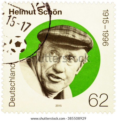 GERMANY - CIRCA 2015: stamp printed in Germany shows portrait of Helmut Schoen - great German football player and manager, circa 2015 - stock photo