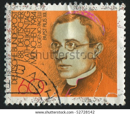 GERMANY  - CIRCA 1984: stamp printed in Germany, shows portrait Pope Pius XII, circa 1984.