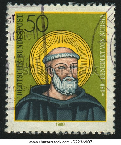 GERMANY  - CIRCA 1980: stamp printed in Germany, shows portrait St. Benedict, circa 1980.