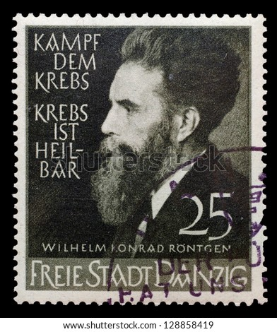 GERMANY, CIRCA 1930 - The post stamp printed in Danzig (Gdansk) in memory of W.K.Rongten - the physicist who open the X-Rays on Germany, circa 1930