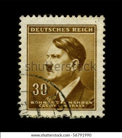 GERMANY - CIRCA 1942:  Used Postage Stamp showing Portrait of Adolf Hitler circa 1942. - stock photo