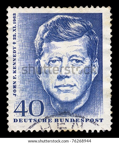 GERMANY - CIRCA 1964. Vintage postage stamp printed in Germany shows a memorialized John F. Kennedy, circa 1964.