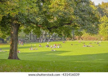Germany, Cologne. Stay on the grass - stock photo