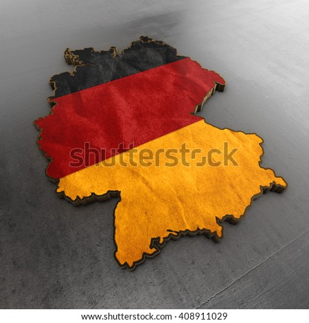 Germany 3d shape  background. Shape 3d render map with flag and metallic background - stock photo
