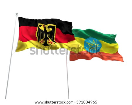 Germany & Ethiopia Flags are waving on the isolated white background - stock photo