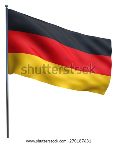 Germany flag isolated on white and fluttering.